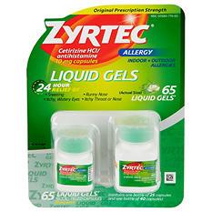 Zyrtec Cetirizine HCl/Antihistamine - Liquid Gels - 65 ct.
