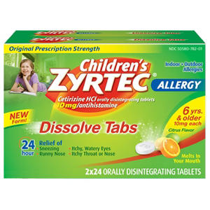 Zyrtec Childrens 24HR Allergy Dissolve Tablets, Citrus Flavor (48 ct.)