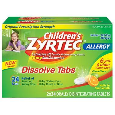Zyrtec Childrens 24HR Allergy Dissolve Tablets, Citrus Flavor (48 ct.)