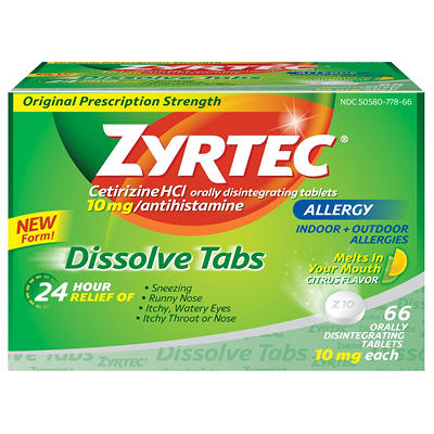 Zyrtec 24HR Allergy Dissolve Tablets, Citrus Flavor (66 ct.)