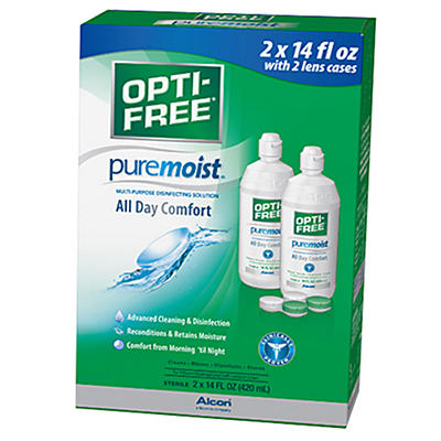Opti-Free PureMoist with 2 Lens Cases, 14 oz. - 2 pk.