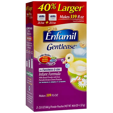 Enfamil Gentlease Infant Formula, Powder Pouches, 23.3 oz. - 2 pk.