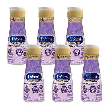Enfamil Gentlease Infant Formula, Ready-to-Use (32 fl. oz., 6 pk.)