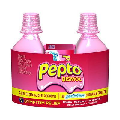 Pepto Bismol Liquid Original Flavor - 2/12 oz.+ InstaCool Tablets 30 ct.