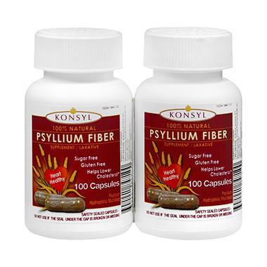 Konsyl Natural Psyllium Fiber - 2 pk./100 capsules each