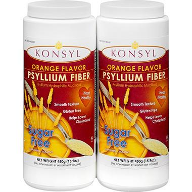 Konsyl Psyllium Fiber - 450 grams - 2 pk. - Sugar Free Orange Flavor