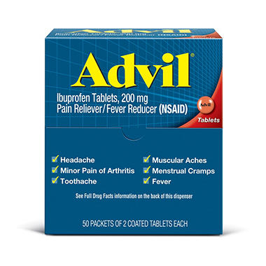 Advil Ibuprofen Tablet Packets - 50 pks. of 2 ct.