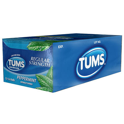 TUMS Regular Strength - Peppermint - 12 ct. rolls - 12 pk.