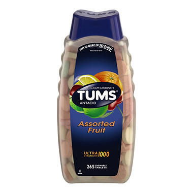 TUMS Ultra 1000 Chewable Tablets, Assorted Fruit (265 ct.)