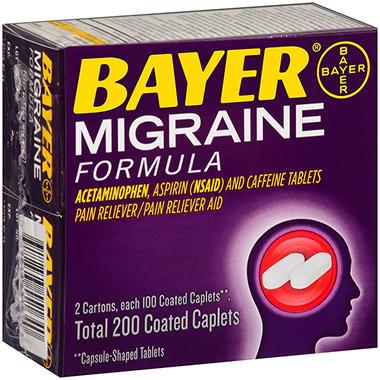 Bayer® Acetaminophen, Aspirin & Caffeine Migraine Formula - 100 ct - 2 pk