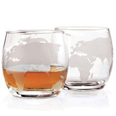 Wine Enthusiast Etched Globe Whiskey Glasses - Set of 2