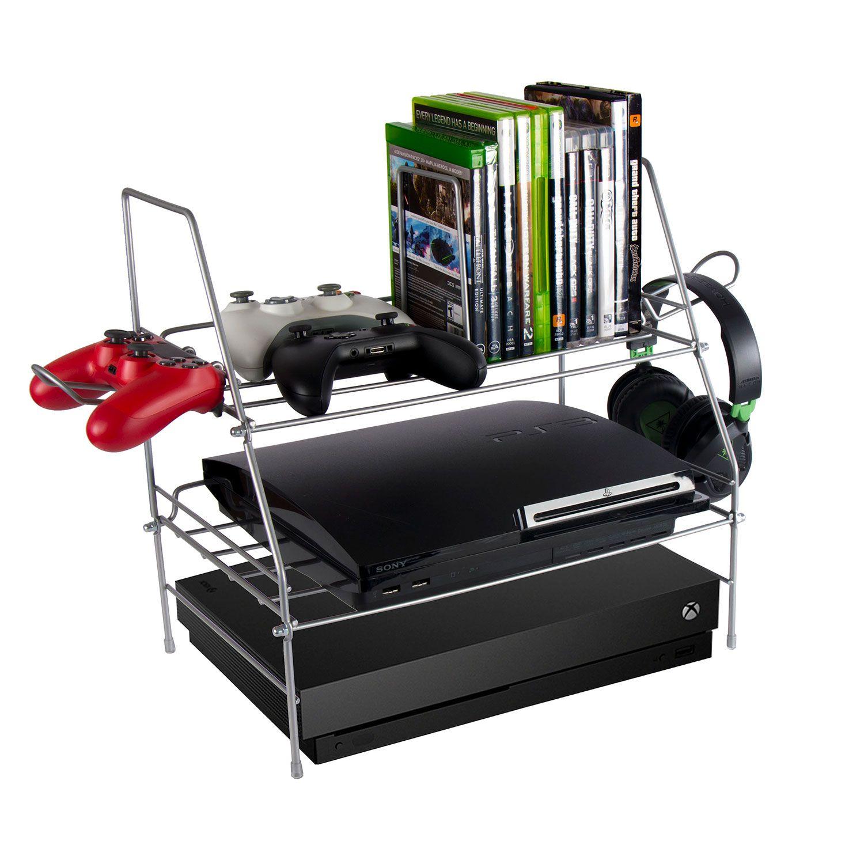 new video game system xbox ps3 wii storage rack shelf station organizer ebay. Black Bedroom Furniture Sets. Home Design Ideas