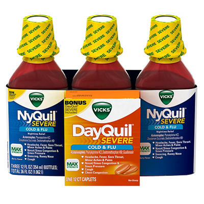 Nyquil Severe Cold & Flu - Berry - 12 fl. oz. - 3 pk. + Bonus 12 ct. Dayquil