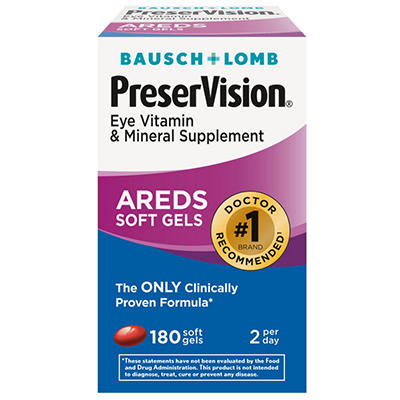 Bausch & Lomb PreserVision Eye Vitamin Supplement - 180 Softgels