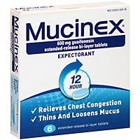 Mucinex 12 Hour Expectorant Tablets (6 ct.)