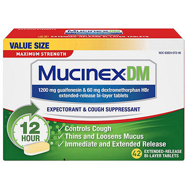 Mucinex DM Expectorant & Cough Suppressant, Maximum Strength (42 ct.)