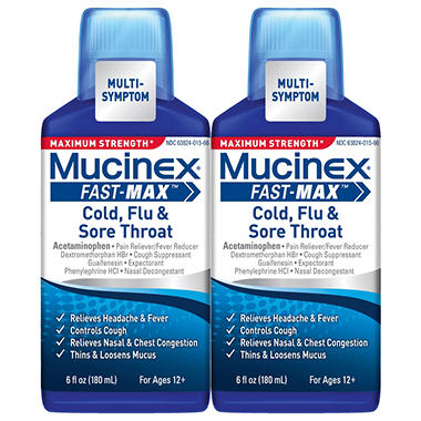 Mucinex Fast-Max Cold, Flu & Sore Throat Medicine - Maximum Strength - 6 oz. - 2 pk.