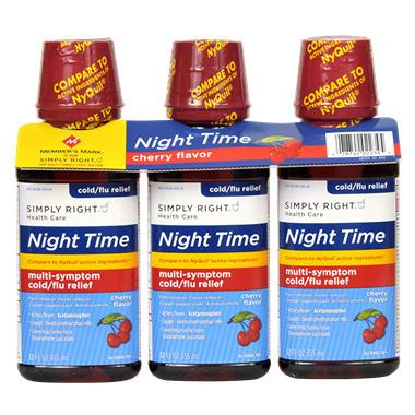 Simply Right Night Time Multi-Symptom Cold/Flu Relief - 12 oz. - 3 pk.