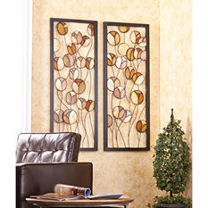 Abstract Metal/Capiz Wall Panel 2-piece Set