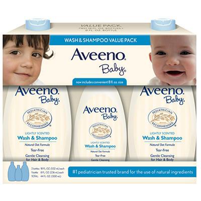 Aveeno Baby Wash & Shampoo Value Pack (2 -18 fl. oz, 1 - 8 fl. oz.)
