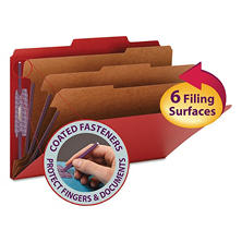 "Smead 3"" Expansion Folders with 2/5 Cut Tab, Eight-Section, Legal, Bright Red, 10ct."