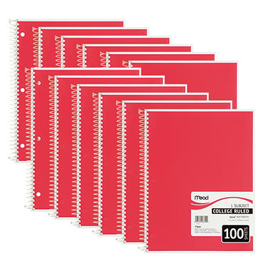 Mead Spiral Bound Notebook - College Rule 8 1/2 x 11 - 100 sheets - 12 Pack