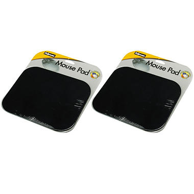 Fellowes Mouse Pad - Black - 2 Pack