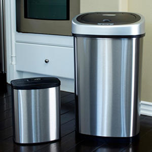 Nine Stars Sensor Trash Can Set - Stainless Steel - 13.2 gal. / 2.1 gal.