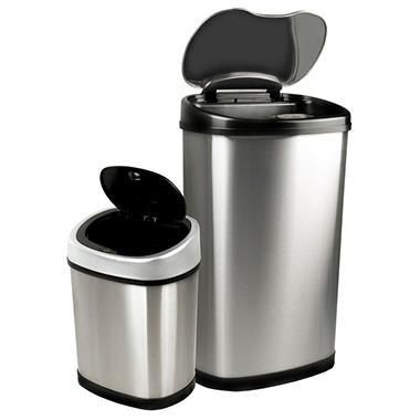 Nine Stars Sensor Trash Cans - Stainless Steel - 13.2 gal. / 3.2 gal.