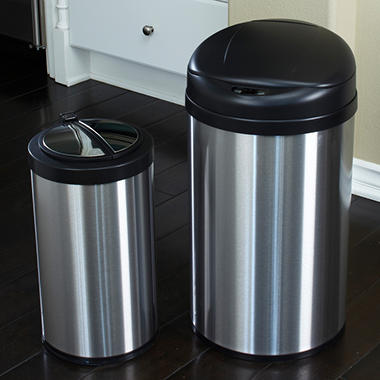 Nine Stars Trash Can - Stainless Steel - 10.5 gal. / 3.2 gal. -  2 Pack