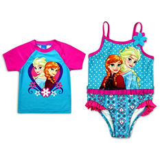 Girls' Frozen 2-Piece Swimsuit with Matching Rashguard