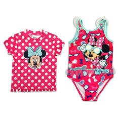 Girls' Pink Minnie Mouse 2 Piece Swimsuit with Matching Rashguard