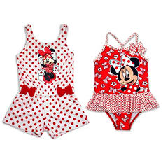 Girls' Red Minnie Mouse Cover-Up and 2-Piece Tankini Set