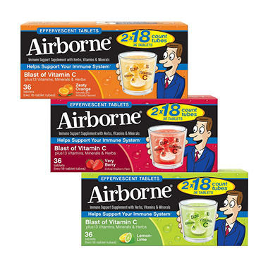 Airborne Effervescent Tablets, Lemon Lime (36 ct.)