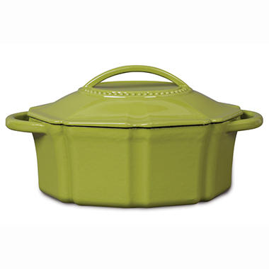 Isaac Mizrahi 6 qt Cast Iron Dutch Oven with Lid - Green