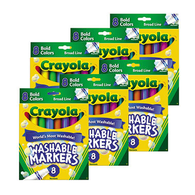 Crayola Washable Markers - Broad Point - Bold Colors - 8 Per Pack - 6 Packs
