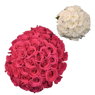 Roses - Wedding Pack Hot Pink & White - 75 Stems