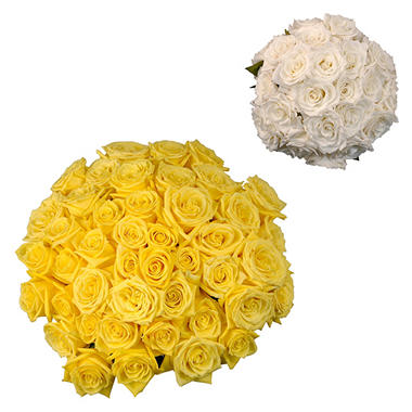 Roses - Wedding Pack Yellow & White (75 stems)
