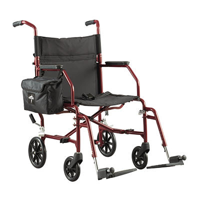 Medline Ultra-Light Steel Transport Chair, Red
