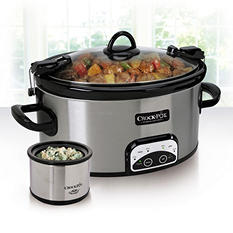 6 Quart Crock Pot Travel and Serve with Little Dipper Warmer