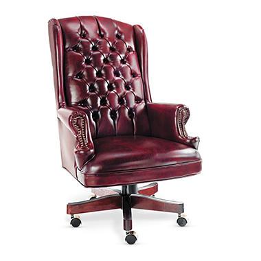 Alera - Traditional Series Wing-Back Swivel/Tilt Chair, Mahogany Finish/Oxblood Vinyl