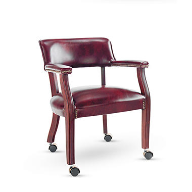Alera - Traditional Series Guest Arm Chair w/Casters, Mahogany Finish/Oxblood Vinyl