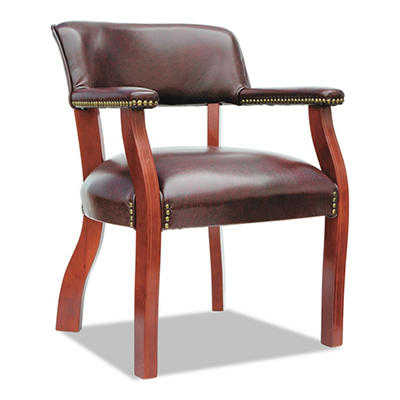 Alera - Traditional Series Guest Arm Chair, Mahogany Finish/Oxblood Vinyl