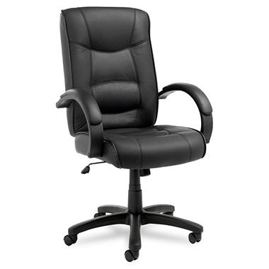 Alera Strada Series High-Back Leather Swivel/Tilt Chair, Black