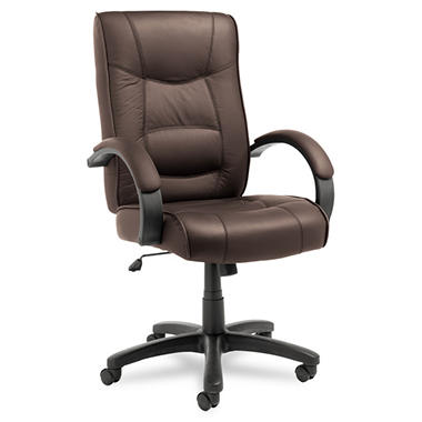 Alera Strada Series High-Back Swivel/Tilt Chair, Brown Leather Upholstery