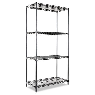 "Alera - Wire Shelving Unit, 36 x 18"", 4 Shelves - Black"