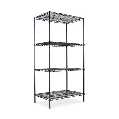 "Alera - Wire Shelving Unit, 36 x 24"", 4 Shelves - Black"