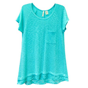 Ladies Lace Trim Top (Assorted Colors)