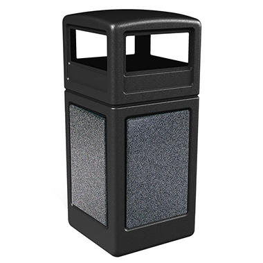 StoneTec Waste Container w/ Dome Lid - Black - 38 gal.