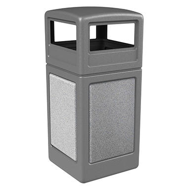 Commercial Zone StoneTec Waste Container with Dome Lid, 42-gal, Polyethylene, Gray with Ashtone Panels